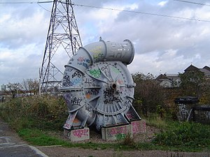 Greenway footpath, London - Image: Spiral Pipe near Abbey Mills Pumping Station