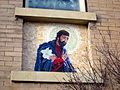 St. Joseph Catholic Church (Plain City, Ohio), exterior detail, Joseph mosaic 1.jpg
