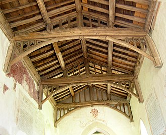 Tie (engineering) - The 15th-century tie-beam roof at St Marys Church, Radnage, Buckinghamshire in England