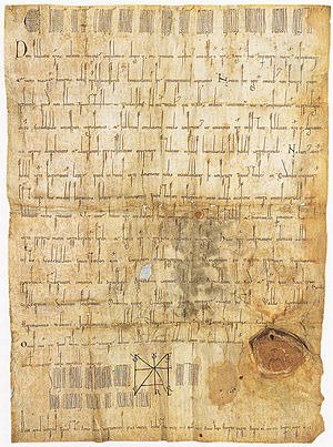 Timeline of Utrecht - Document confirming Utrecht town privileges, 1122