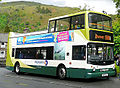 Stagecoach in Cumbria bus, 1999 Dennis Trident 2 Alexander ALX400, route 599 The Lakeland Experience, Grasmere, 12 May 2011.jpg