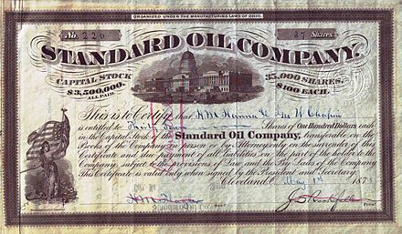 Share of the Standard Oil Company, issued May 1, 1878 Standard Oil Company 1878.JPG