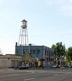 Buildings and water tower in Stanfield
