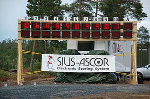 Electronic scoring system - An electronic scoring board used for stangskyting in Norway in 2007 showing the number of hits for each shooter after the first half.