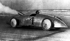 Brass Era car - A Stanley Steamer racecar in 1903; in 1906, a similar Stanley Rocket set the world land speed record at 205.5 km/h (127.6 mi/h) at Daytona Beach Road Course.