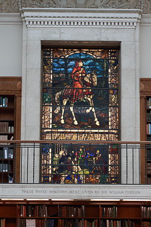 William Dixson - One of the stained glass windows in the main reading room given by Dixson