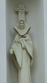 Statue of Celestyna Faron at Church of the Transfiguration in Brzozów 2.jpg