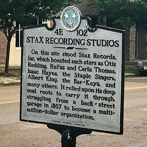 Stax Records -  Tennessee Historical Commission marker at the original site of Stax Records, now the site of the Stax campus.