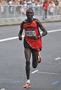 Stephen Kiprotich at the London 2012 Men's Olympic Marathon, 12 August 2012-2.jpg