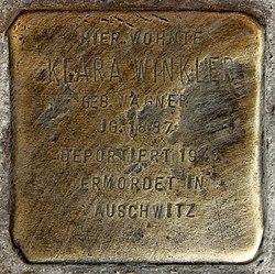 Photo of Klara Winkler brass plaque