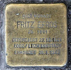 Photo of Fritz Efros brass plaque