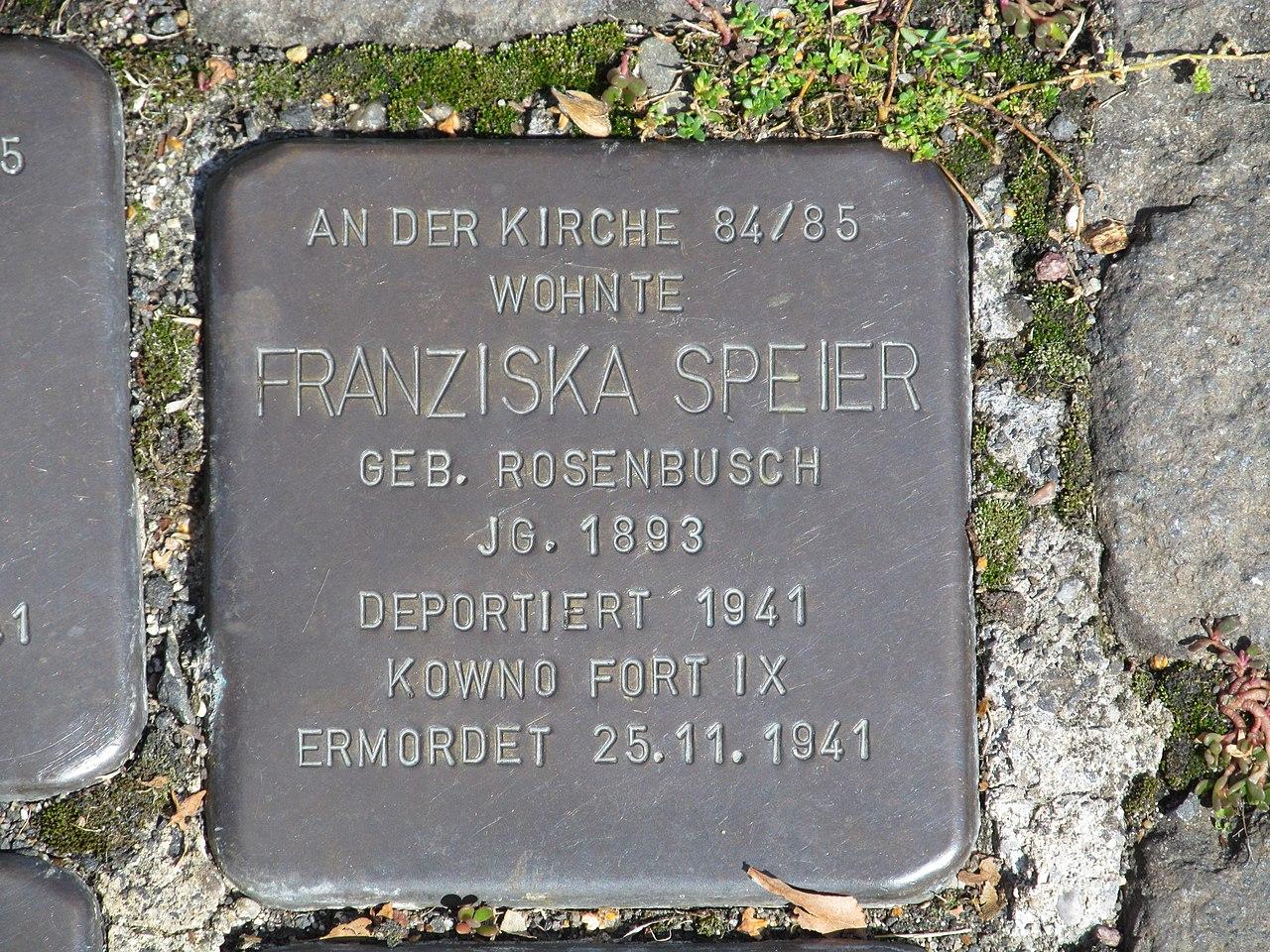 Stolperstein Franziska Speier, 1, Bahnhofstraße 110, Borken, Schwalm-Eder-Kreis.jpg