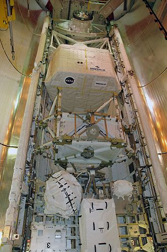 STS-118 - From top to bottom: Orbiter docking system, Spacehab, S5 truss, ESP-3. The CMG is the globe bottom left.