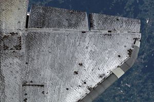 Space Shuttle thermal protection system - Discovery's under wing surfaces are protected by thousands of High-Temperature Reusable Insulation tiles.