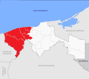 Chontalpa - Map of the Chontalpa area in Tabasco