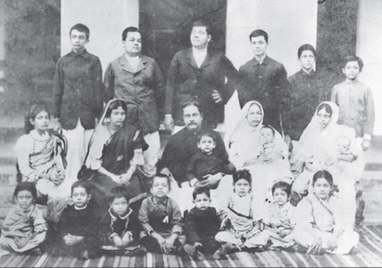 Subhas Bose standing extreme right with his large family Cuttack, India 1905