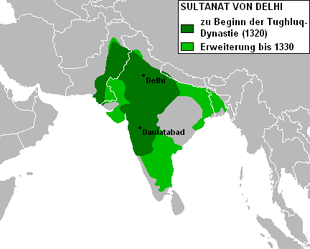 Größte Ausdehnung des Delhi-Sultanats zu Beginn der Tughluq-Dynastie