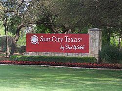 Main entry to Sun City Texas