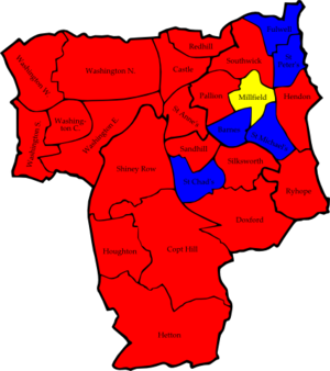 Sunderland City Council elections - Image: Sunderland 2006 election map
