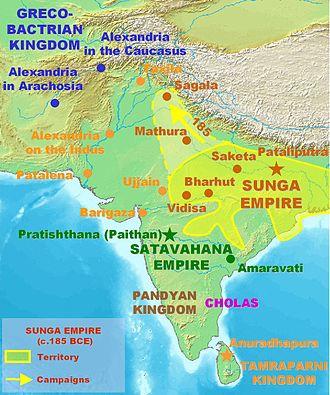 History of Bihar - The Shunga Empire at its greatest extent -c. 185 BCE