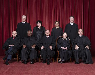 Roberts Court - The Roberts Court (October 2018 – present): Front row (left to right): Stephen Breyer, Clarence Thomas, John Roberts (Chief Justice), Ruth Bader Ginsburg, and Samuel A. Alito. Back row (left to right): Neil Gorsuch, Sonia Sotomayor, Elena Kagan, and Brett Kavanaugh