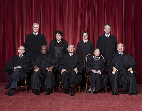 The current Roberts Court justices (since October 2018): Front row (left to right): Stephen Breyer, Clarence Thomas, Chief Justice John Roberts, Ruth Bader Ginsburg, and Samuel Alito. Back row (left to right): Neil Gorsuch, Sonia Sotomayor, Elena Kagan, and Brett Kavanaugh. Supreme Court of the United States - Roberts Court 2018.jpg
