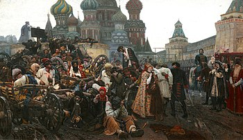 Execution of the Streltsy on the Red Square is the subject of the grand painting by Vasily Surikov.