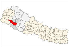 Surkhet District i Bheri Zone (grå) i Mid-Western Development Region (grå + lysegrå)