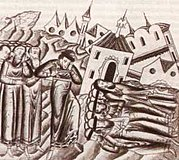 Destruction of Suzdal by the Mongol armies. From the medieval Russian annals.