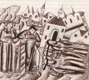 Batu Khan - Destruction of the capital of Vladimir-Suzdal by Mongol armies. From the medieval Russian annals