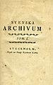 Svenska Archivum Tom I (1766) titelblad.jpg