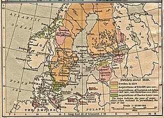 Swedish Empire - Swedish possessions in 1658. The years in parentheses indicate when the possession was given up or lost.
