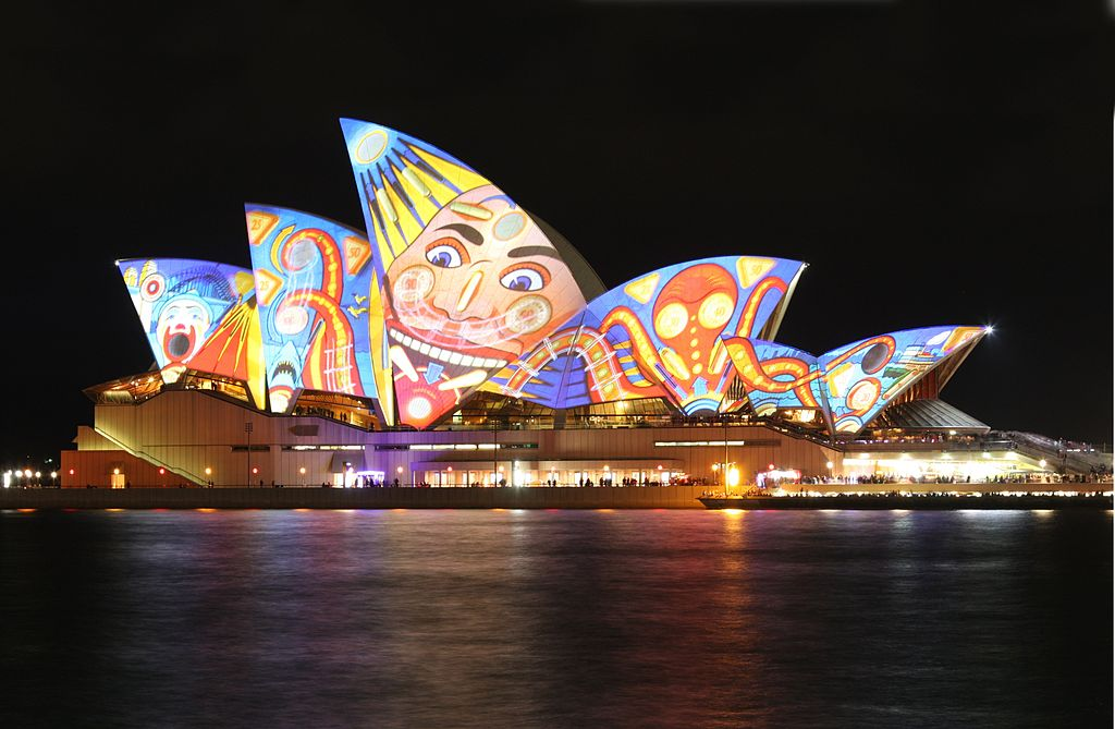 1024px Sydney Opera House%2C vivid Sydey - Get Picture Of Sydney Opera House Australia  PNG