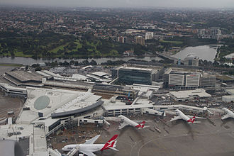 Sydney Airport - Terminal 1 aerial view