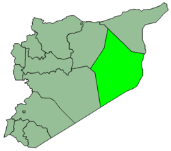 Map of Syria with Deir Zor highlighted.