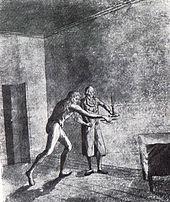 """Caspar David Friedrich: Szene aus Schillers """"Die Räuber"""", Franz und Daniel, 1799 (Quelle: Wikimedia)"""