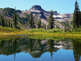 Washington State Route 542 - Table Mountain reflected in roadside pond near Austin Pass