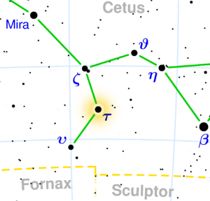 Location of Tau Ceti in the constellation Cetus.