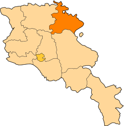 Location of Tavush within Armenia