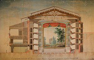 Teatro Alfieri, Florence - Vittorio Bellini's design for the 1828 renovation of the theatre