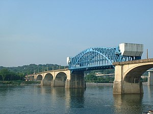 Tennessee River - The Market Street Bridge, spanning the Tennessee River in Chattanooga.