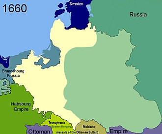 Treaty of Oliva - Poland at the time of the treaty of 1660 (significant territories occupied by Russia during the Russo-Polish War (1654–1667)