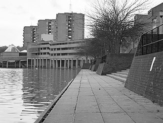 A Clockwork Orange (film) - Thamesmead South Housing Estate where Alex knocks his rebellious droogs into the lake in a sudden surprise attack