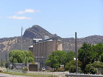 The Rock, New South Wales - View across the rail lines and silos to The Rock Hill