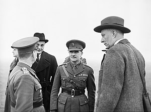 Hugh Dalton - Hugh Dalton, right, Minister of Economic Warfare, and Colin Gubbins, chief of SOE, talking to a Czech officer during a visit to Czech troops near Leamington Spa, Warwickshire