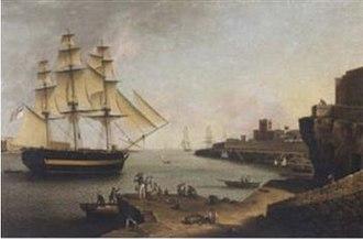 HMS Europa (1783) - Image: The British vessel Europa approaching Port Mahon, Minorca Anton Schranz