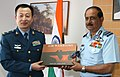 The Chief of Air Staff, Air Chief Marshal N.A.K. Browne presenting IAF's Coffee Table Book to the visiting Chinese Air Force Delegation Team at Yelahanka Air Base, Bangalore on February 07, 2013.jpg