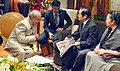 The Chinese famous artist, Mr. Han Meilin calling on the President, Shri Pranab Mukherjee, in Beijing, China on May 25, 2016 (1).jpg