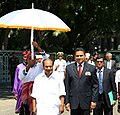 The Defence Minister, Shri A. K. Antony is accorded the rare honour of being ushered into the Ministry of Defence building with honour guards holding a ceremonial umbrella over him, at Male, Maldives on September 16, 2012.jpg