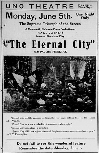 The Eternal City (1915 film) - Newspaper advertisement